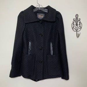 Mackage Black Elegant Short Dress Coat Sz S